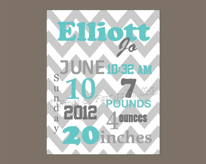 Gray Aqua Chevron Birth Information Canvas Wall Art Print