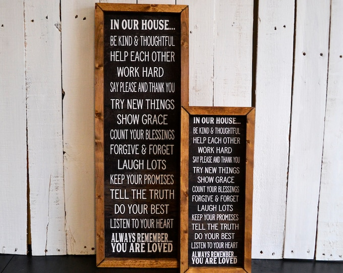 In Our House Rules Black and White Rustic Wooden Framed Canvas Wall Art