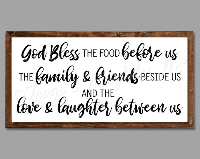 """Bless the Food Before Us Dinner Prayer 36""""x18"""" Dinning Room Sign Wooden Framed Canvas Print"""