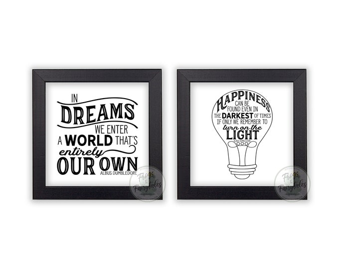 Happiness Can Be Found and In Dreams We Enter White and Black Wooden Framed Print Set