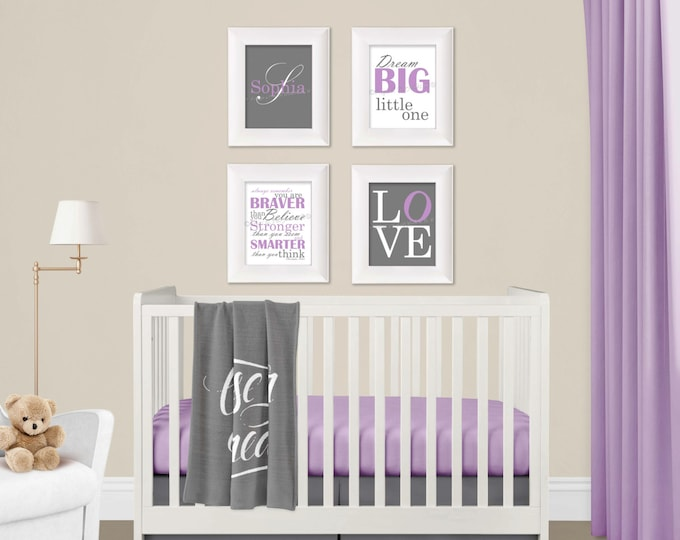 Personalized Wall Art in Purple and Gray Photo Paper Prints Set Free Shipping