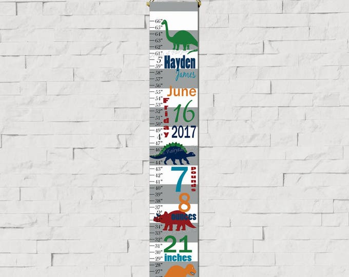 Dinosaurs Birth Information Navy and Green White and Grey Stripes Canvas Growth Chart Print, Height Chart, Ruler