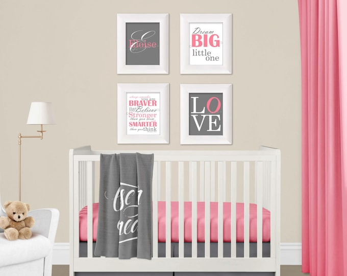 Personalized Wall Art Pink and Gray Photo Paper Prints Free Shipping