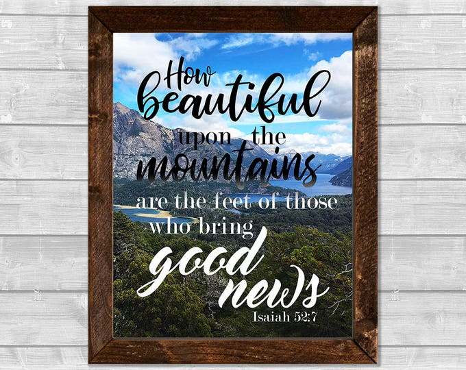 Isaiah 52:7  How Beautiful Upon the Mountains Framed Canvas Wall Art
