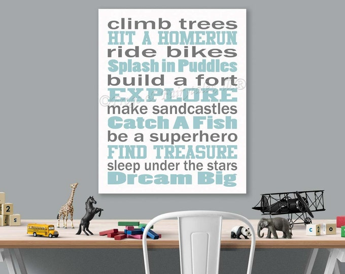 Climb Trees, Explore, Dream Big Baby Blue Grey White Canvas Wall Art Typography Print