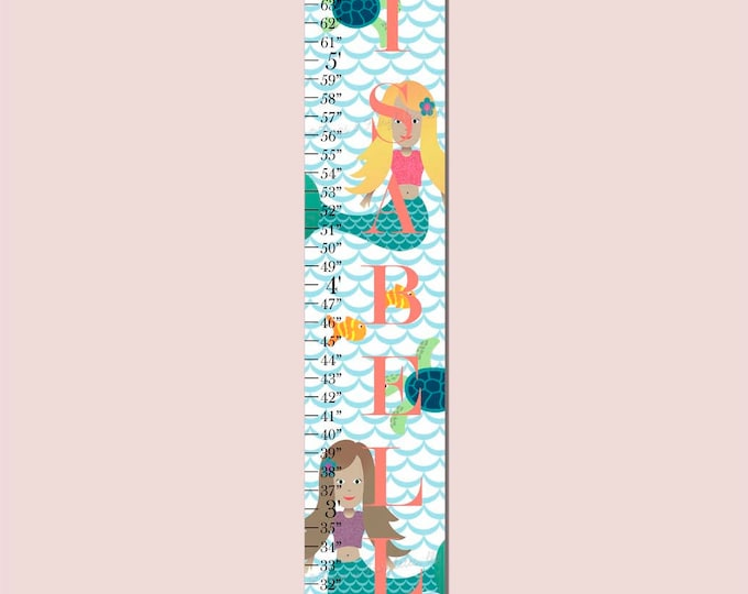 Mermaid Ocean Canvas Growth Chart Height Chart Ruler