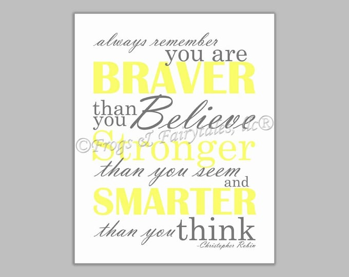 Christopher Robin Always Remember You are Braver Than You Believe Gender Neutral Yellow Gray Canvas Wall Art Print