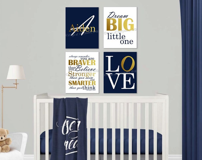 Baby Boy Nursery Navy Gold Canvas Wall Art Love Dream Big Name Christopher Robin Quote