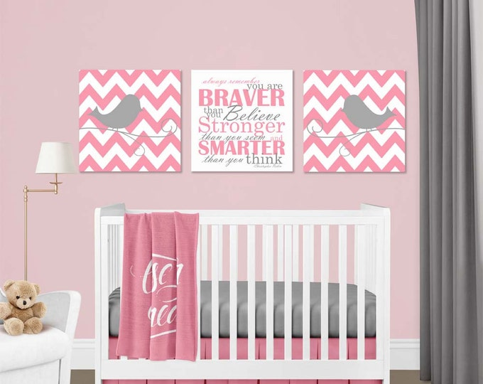 Chevron Birds Christopher Robin Quote Pink Gray Canvas Wall Art Set