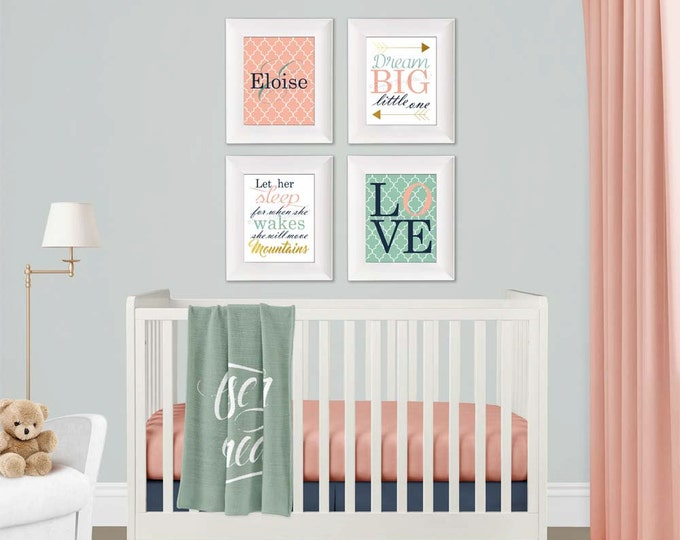 Initial Name Wall Art in Coral Mint Navy White Gold Baby Girl Nursery Paper Print Set Free Shipping