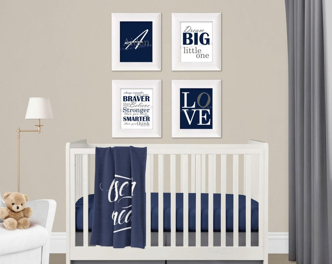 Personalized Wall Art Set in Navy and Grey Photo Paper Prints, Free Shipping