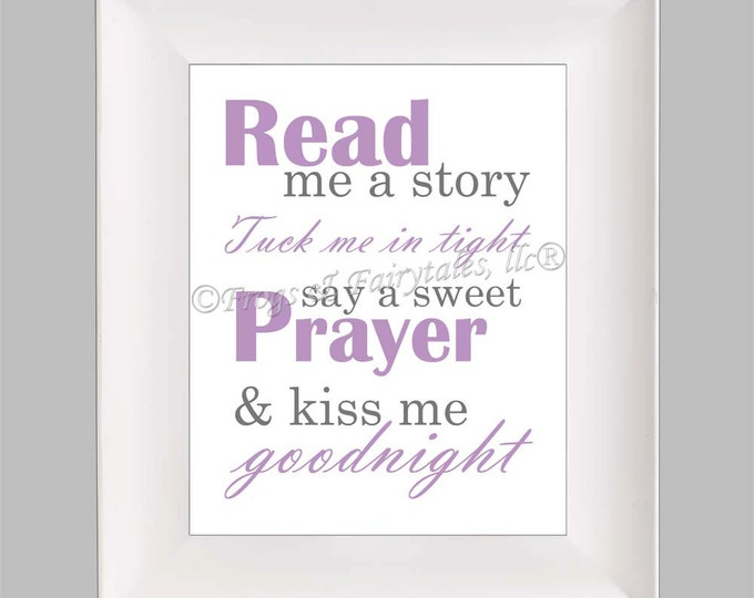 Read Me a Story Tuck Me in Tight Say a Sweet Prayer and Kiss Me Goodnight, Purple Grey, Photo Paper Print, Free Shipping