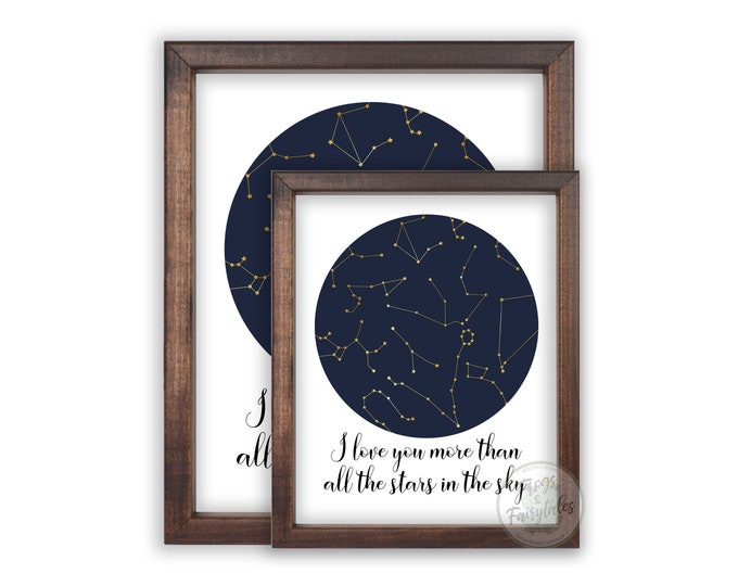 I Love You More Than All the Stars in the Sky Constellations Wooden Framed Wall Art prints