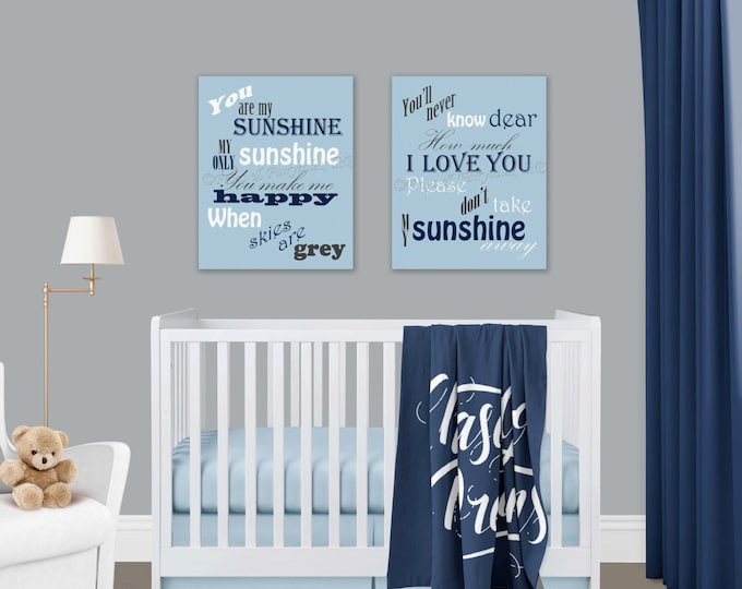 You Are My Sunshine Blue Navy Canvas Prints Set