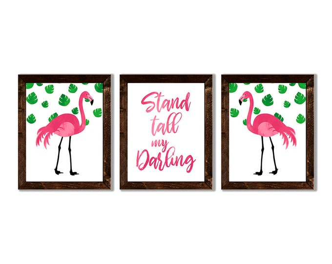 Stand Tall My Darling Flamingo Pink and Green Watercolor Effect Wooden Framed Canvas Wall Art