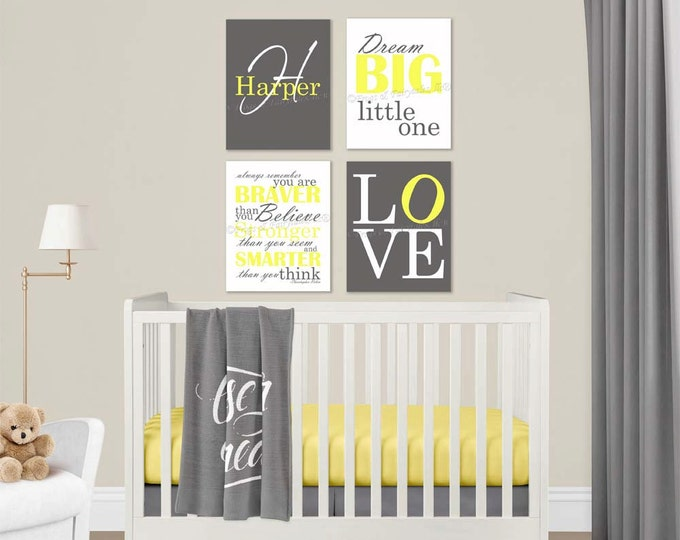 Gender Neutral Nursery Yellow Grey Canvas Wall Art Love Dream Big Name Christopher Robin Quote