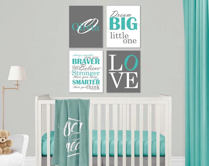 Baby Girl Nursery Aqua Grey Canvas Wall Art Love Dream Big Name Christopher Robin Quote