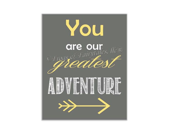 You Are Our Greatest Adventure Yellow Gray Canvas Wall Art Print