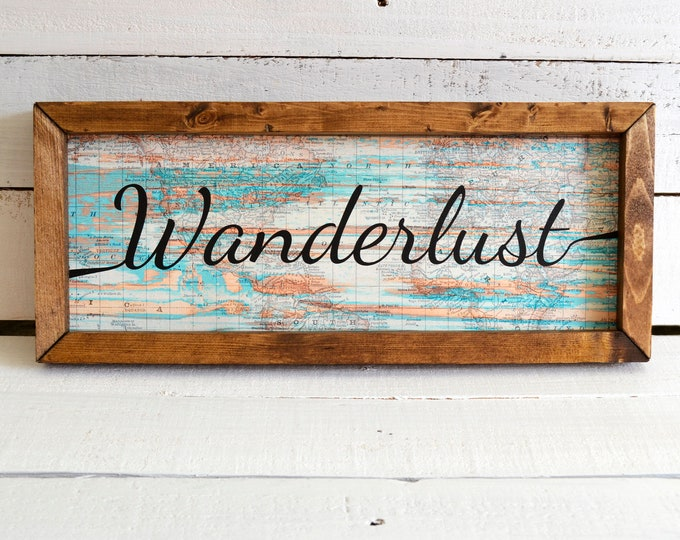 Wanderlust World Map Wooden Framed Canvas Wall Art