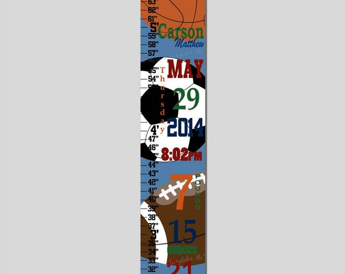 Sports Birth Information Canvas Growth Chart, Height Chart, Ruler