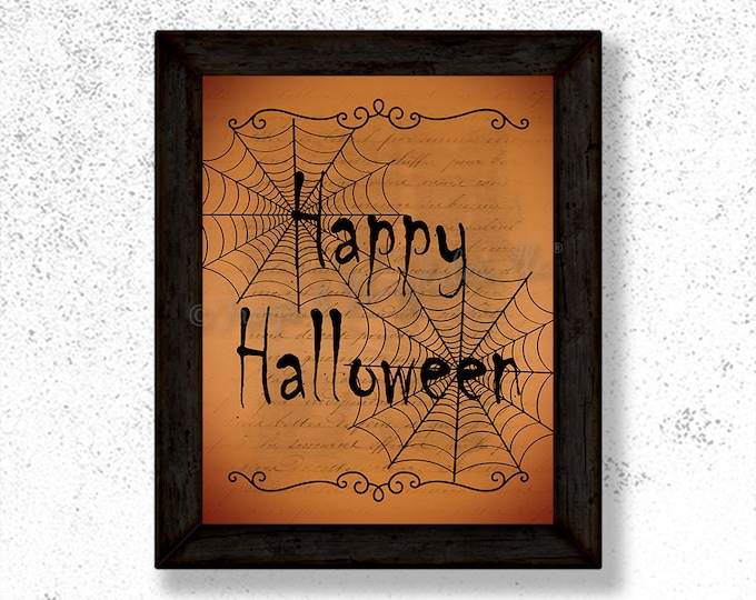 Happy Halloween Spiderweb Photo Paper Print Wall Art, Free Shipping