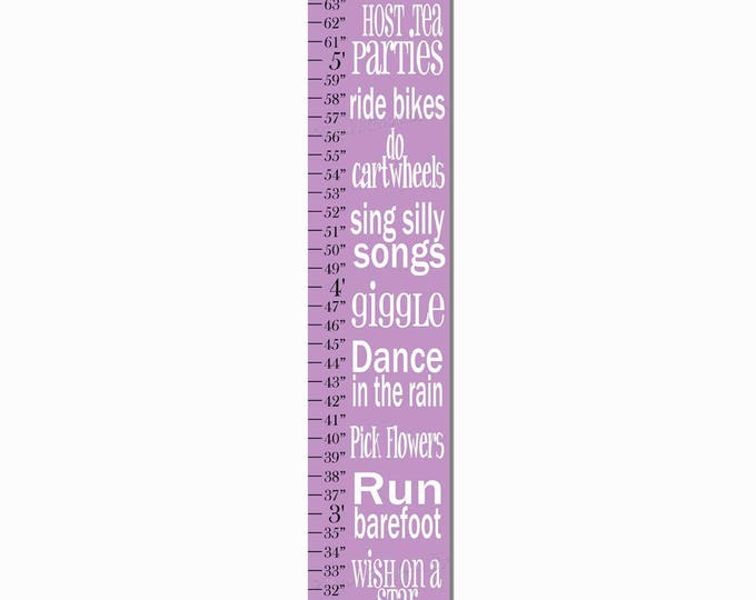Play Dress Up Giggle Dream Big Purple Typography Girls Growth Chart, Height Chart, Ruler