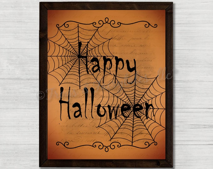Happy Halloween Spiderwebs Vintage Paper Effect Wooden Framed Canvas Wall Art