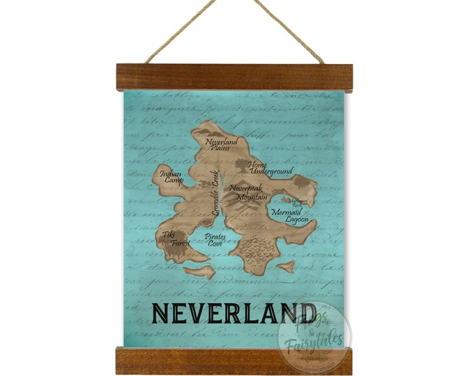 Neverland Map Teal Hanging Canvas Wall Art