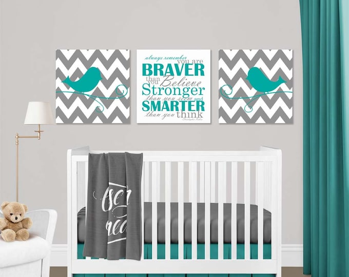 Chevron Birds Christopher Robin Quote Teal Gray Canvas Wall Art Set