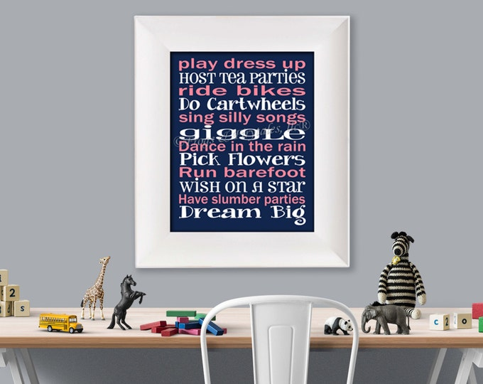 Play Dress Up Typography Navy Pink Photo Paper Print, Free Shipping