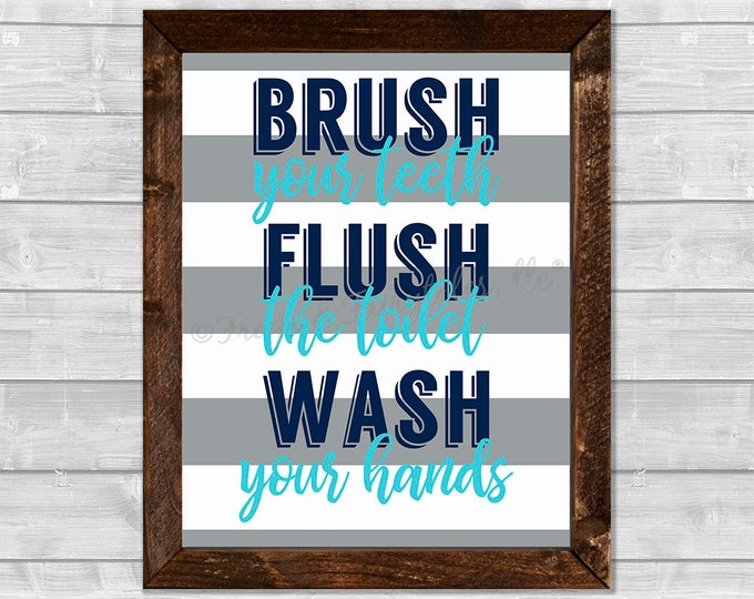 Brush Flush Wash Navy Aqua Wooden Framed Canvas Print