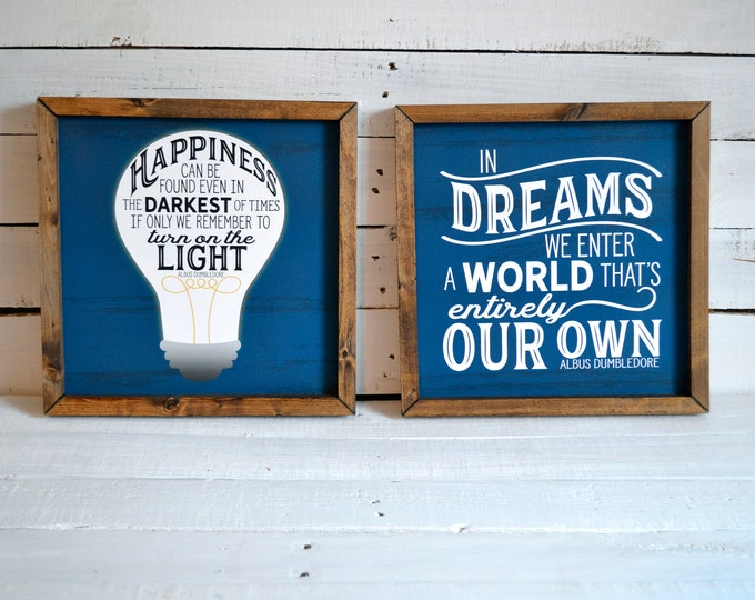 Happiness Can Be Found and In Dream We Enter Inspirational Quotes in Blue and White Rustic Wooden Framed Canvas Print Set