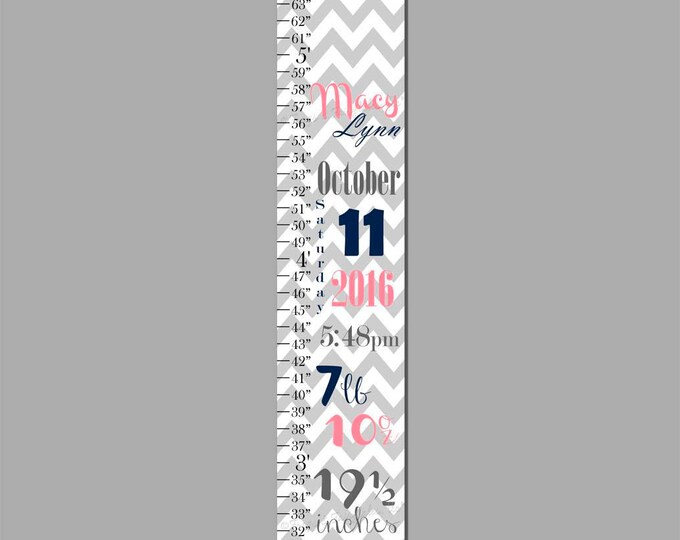 Birth Information Navy and Pink White and Grey Chevron Canvas Growth Chart Print, Height Chart, Ruler