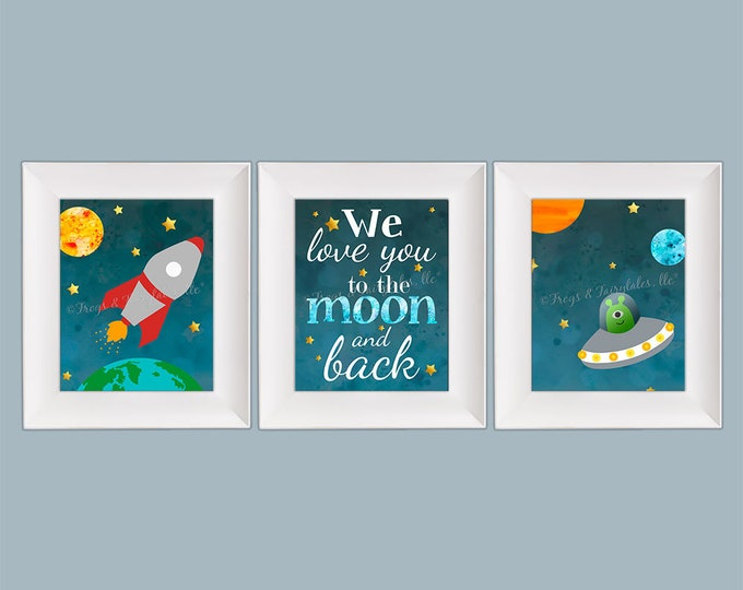 Outer Space Rocket Ship We Love You to the Moon and Back Photo Paper Print Set Free Shipping