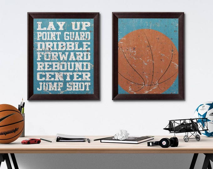 Basketball Vintage Weathered Wall Art Paper Prints Free Shipping
