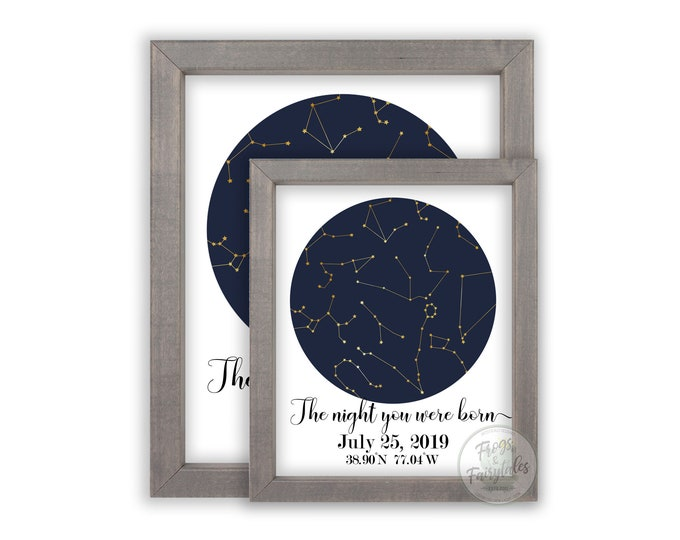 The Night You Were Born Custom Constellations Wooden Framed Wall Art Prints