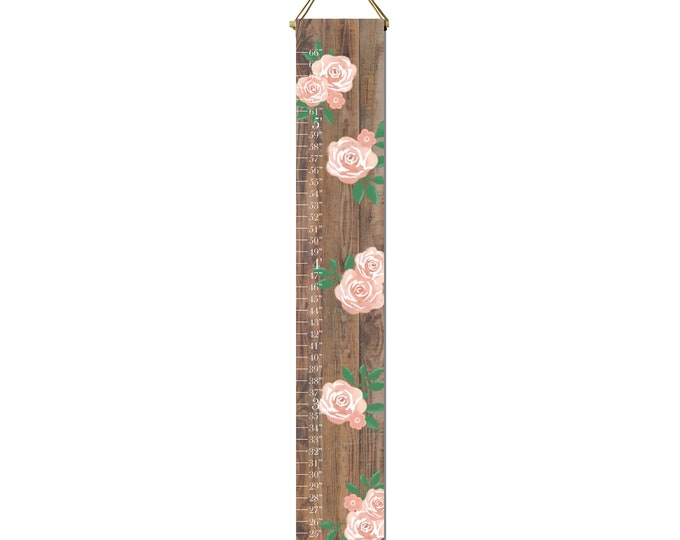 Roses Flowers Girls Growth Chart Height Chart Ruler Canvas