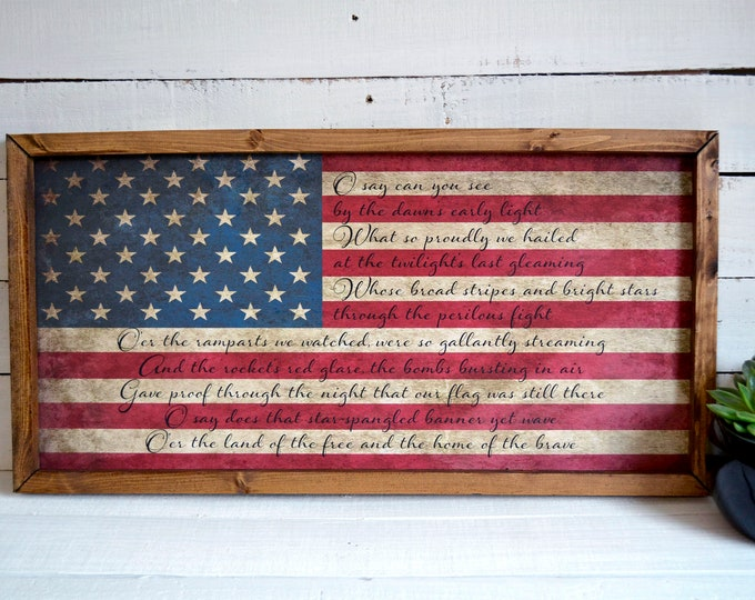 "Star Spangled Banner 24""x12"" American Flag Vintage Worn Rustic Wooden Framed Canvas Wall Art"