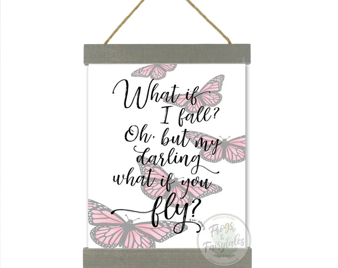 What If I Fall Oh But My Darling What If You Fly Pink Butterflies Hanging Canvas Wall Art