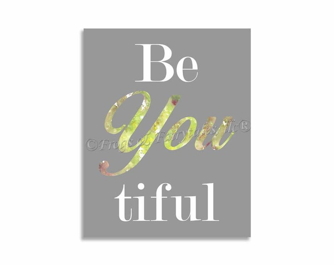 Be You Beautiful Canvas Print Wall Art Gray Watercolor