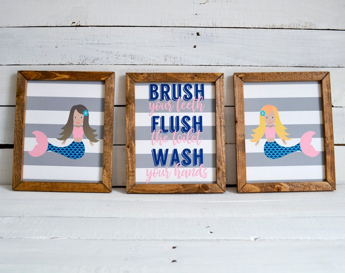 Brush Flush Wash Mermaids Kids Bathroom Wooden Framed Canvas Wall Art