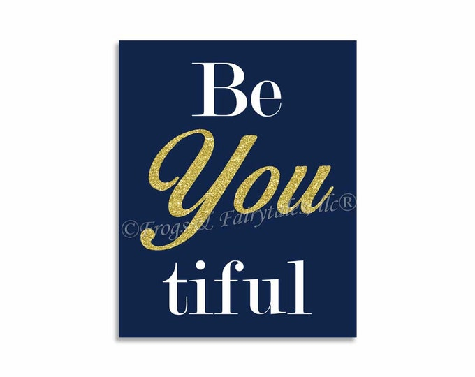 Be You Beautiful Canvas Print Wall Art Navy Gold