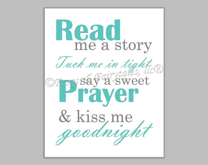 Read Me a Story Tuck Me in Tight Say a Sweet Prayer and Kiss Me Goodnight aqua gray gender neutral canvas print wall art