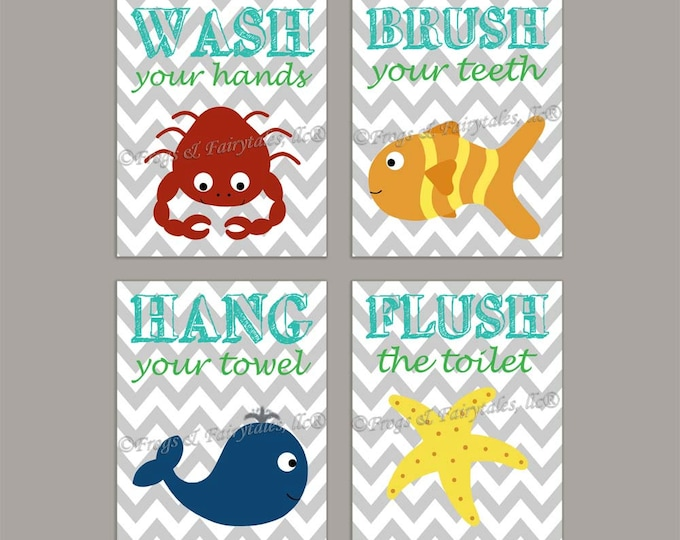 Ocean Bathroom Canvas Wall Art Set Chevron