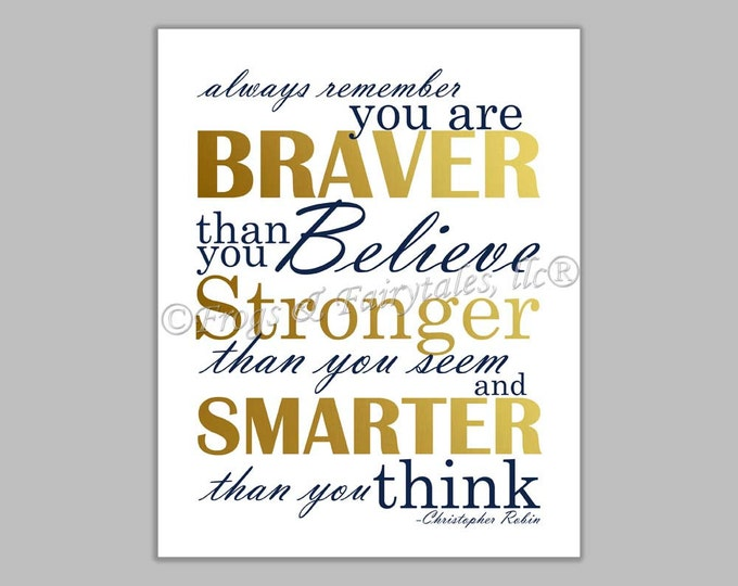 Christopher Robin Always Remember You are Braver Than You Believe Gender Neutral Navy Gold Canvas Wall Art Print