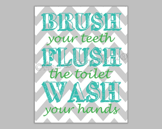 Brush Flush Wash Canvas Bathroom Wall Art Print
