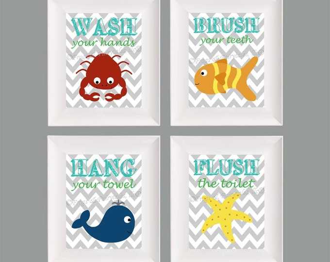 Kids Bathroom Ocean Themed Paper Prints Set, Free Shipping