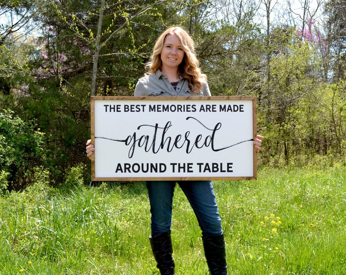 """The Best Memories are Made Gathered Around the Table 36""""x18"""" Dinning Room Sign Wooden Framed Canvas Print"""