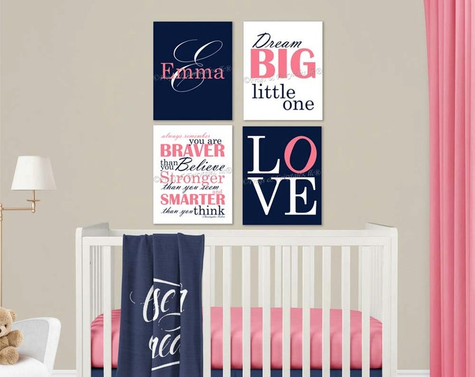 Baby Girl Nursery Navy Pink Canvas Wall Art Love Dream Big Name Christopher Robin Quote
