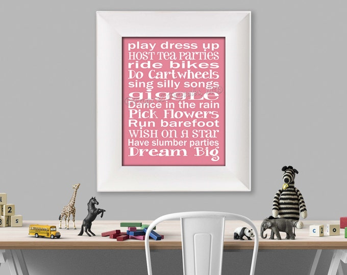 Play Dress Up Typography Pink White Photo Paper Print, Free Shipping